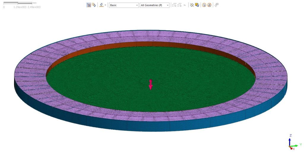 FEA image floating roof mesh