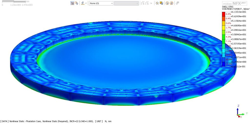 FEA image of floating roof
